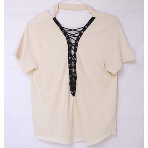 Handmade Lace Up Cut Out Cream T-shirt